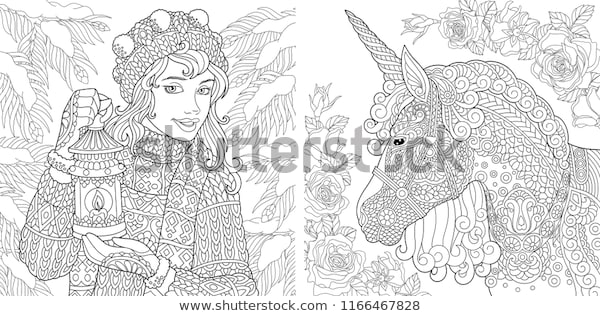fantasy coloring pages coloring book adults stock vector