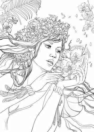 fantasy girl printable adult coloring pages free adult