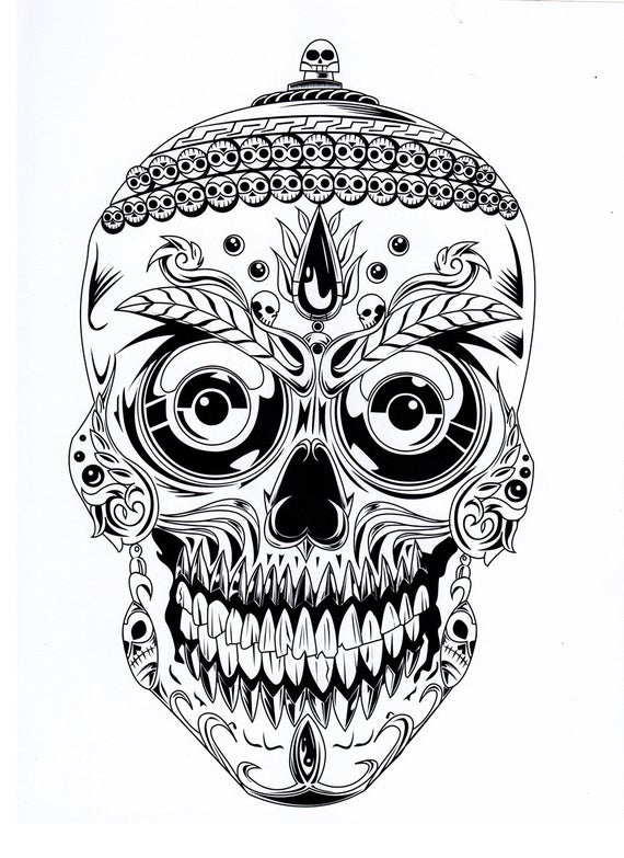 five different sugar skull coloring pages printable digital download no 482
