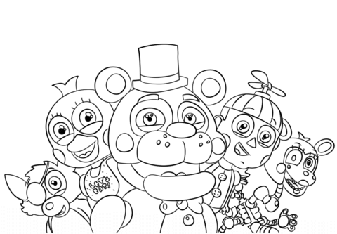 five nights at freddys all characters coloring page fnaf