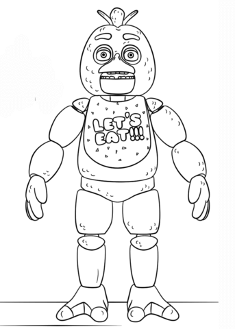 fnaf toy chica omalovnka free printable coloring pages