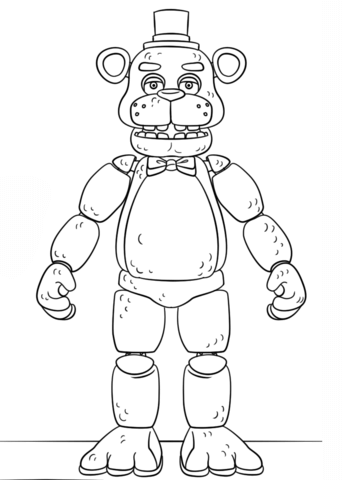 fnaf toy golden freddy coloring page free printable
