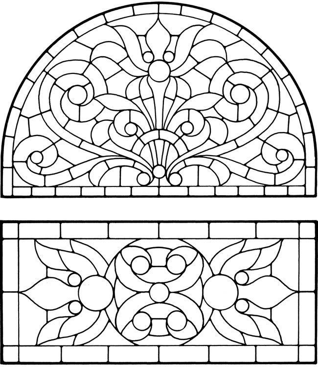 free beauty and the beast stained glass window coloring page