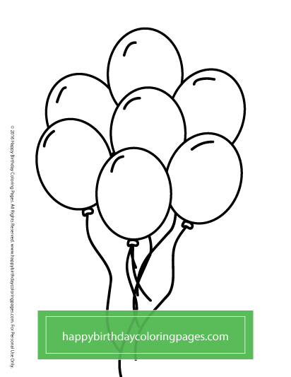 free birthday balloons coloring page birthday coloring