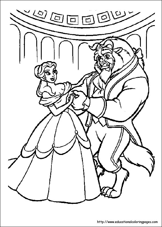free coloring pages beauty and the beast