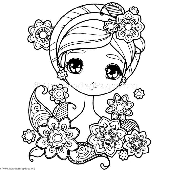 free instant download sweet girl with flowers coloring pages