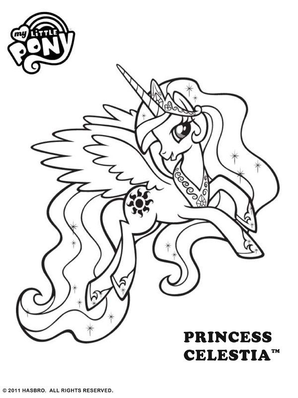 free online my little pony princess celestia colouring
