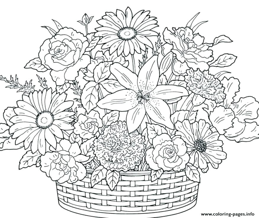 Flower Coloring Pages For Adults Picture - Whitesbelfast.com