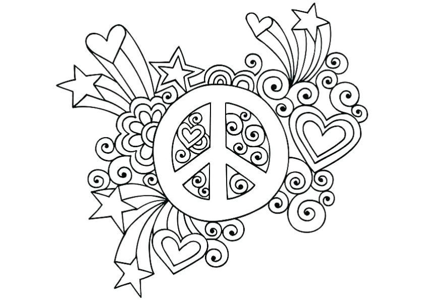 free printable peace sign coloring pages 2oclock