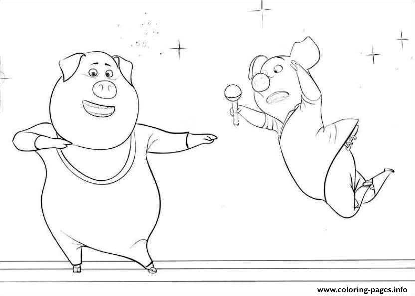 free sing movie 2 pigs coloring pages printable