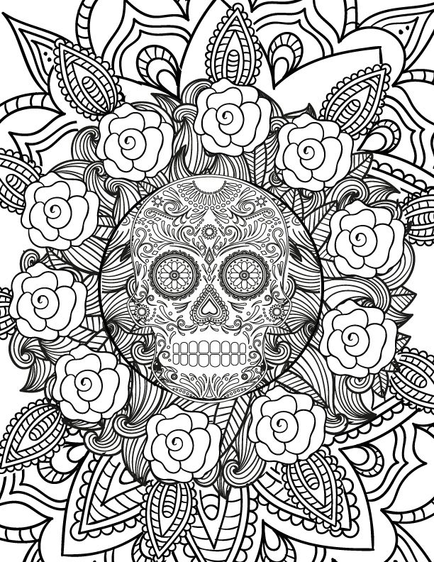 free spooky halloween adult coloring page skull coloring