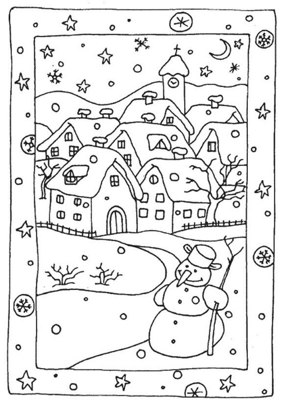 free winter coloring pages snowy houses ausmalbilder