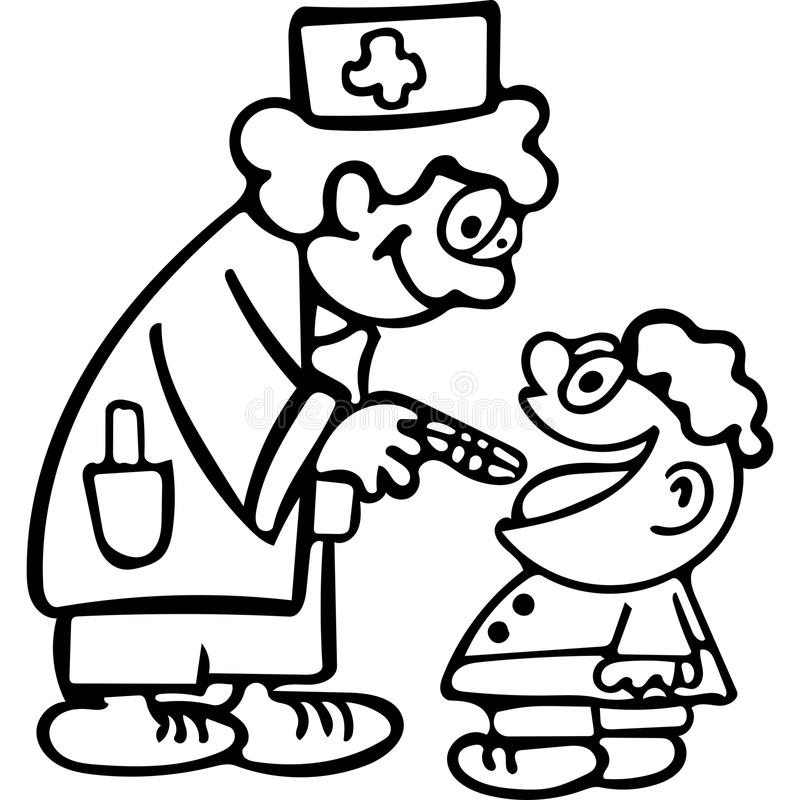 funny doctor kids coloring pages stock illustration