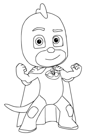 gekko from pj masks coloring page free printable coloring