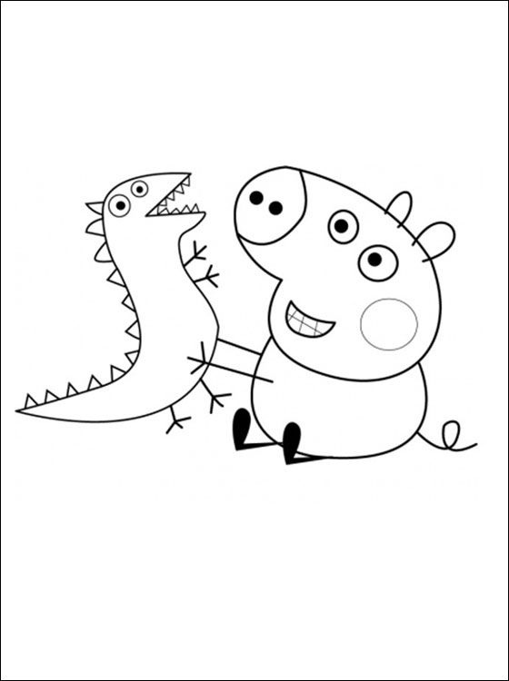 george pig and his toy dinosaur coloring pages peppa pig