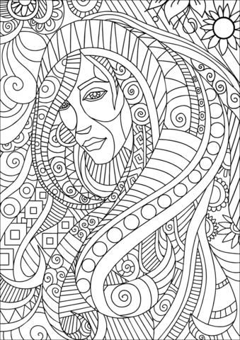 girl portrait zentangle fargelegge free printable coloring