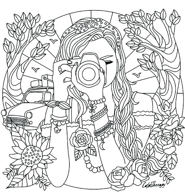 girls hard coloring pages