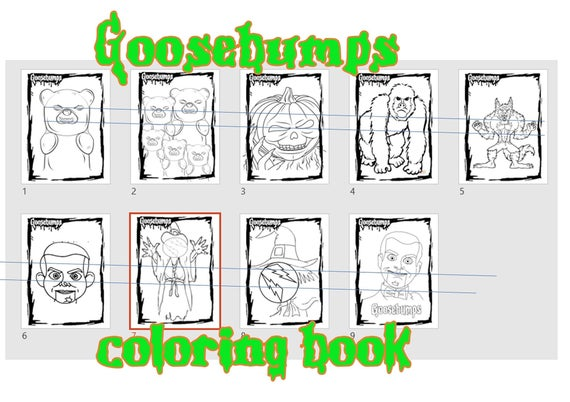goosebumps coloring pages printables instant download pdf jpg book