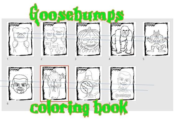 goosebumps coloring pages printables instant download pdf jpg book