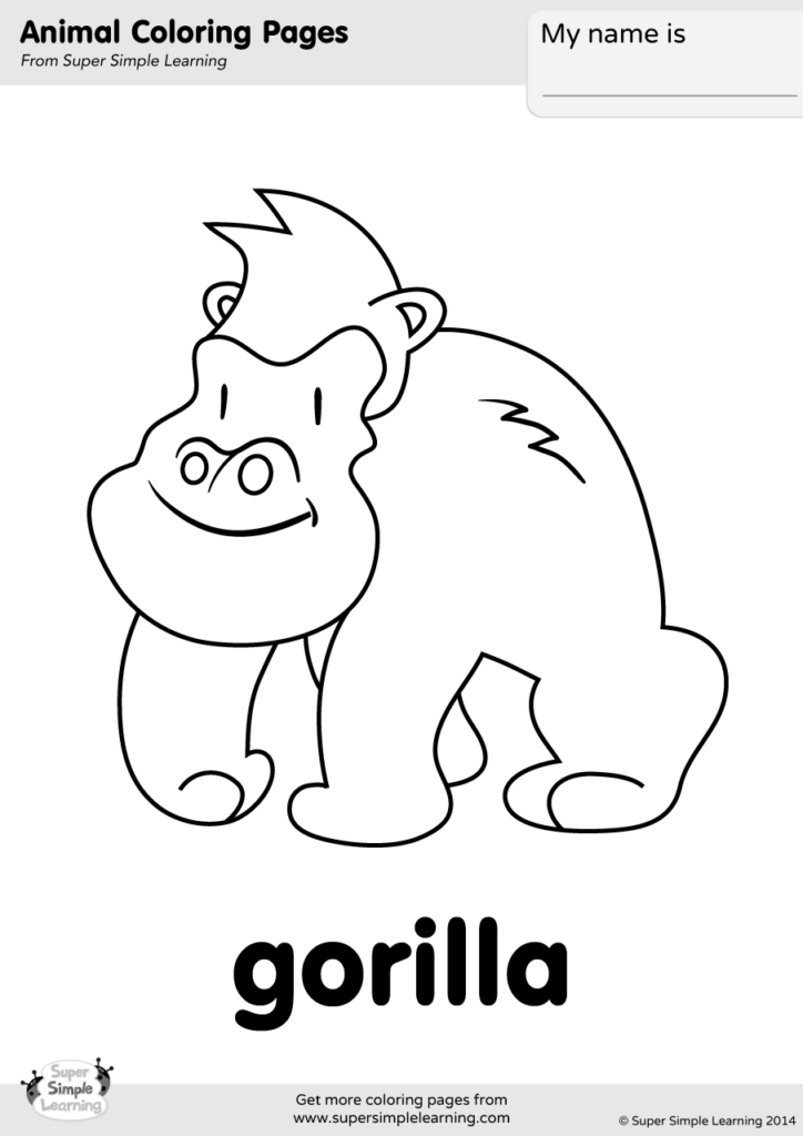 gorilla coloring page super simple