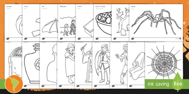 halloween coloring pages englishspanish halloween