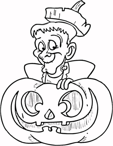 halloween frankenstein coloring page free printable