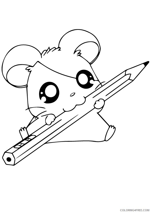 hamster coloring pages eating pencil coloring4free