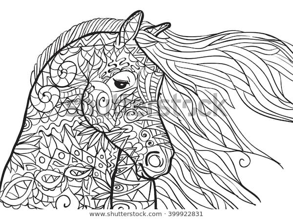 hand drawn coloring pages horses head stock vektorgrafik