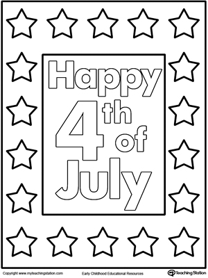 happy 4th of july poster coloring page myteachingstation