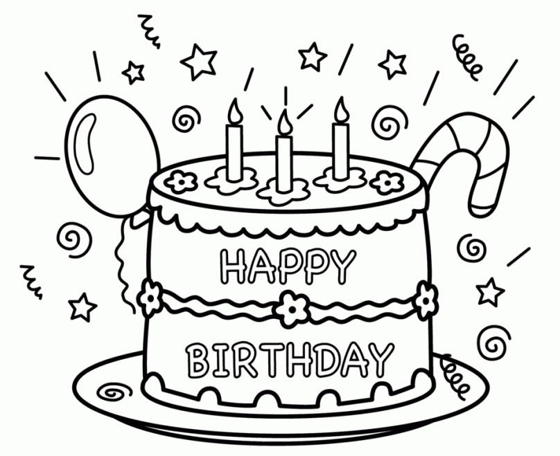 happy birthday coloring pages to print