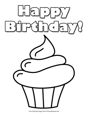 happy birthday cupcake coloring page free printable pdf