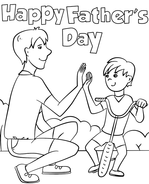 happy fathers day coloring page printable greeting card