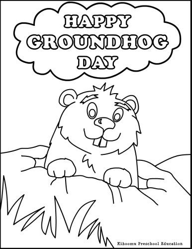 happy groundhog day coloring page for kids groundhog day
