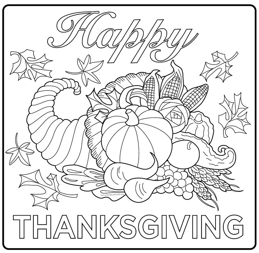 happy thanksgiving poster fall coloring pages