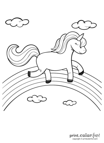 happy unicorn over the rainbow coloring page print color