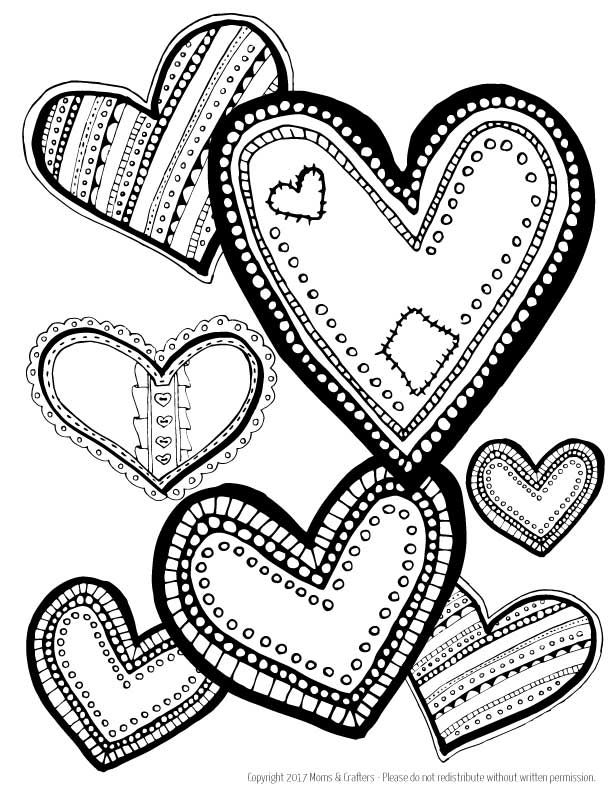 hearts coloring page download heart coloring pages