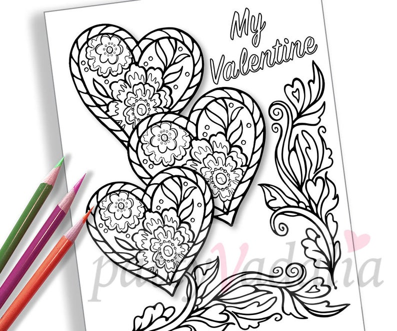 hearts valentine coloring coloring page adult coloring pages coloring pages for kids and adults printables instant download