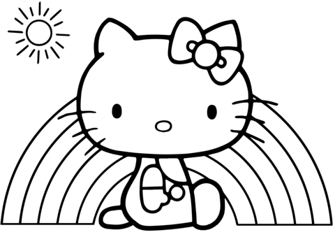 hello kitty rainbow coloring page free printable coloring