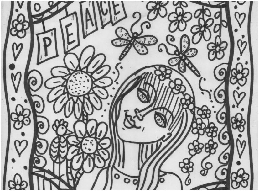 hippie coloring pages pic hippie coloring pages peace