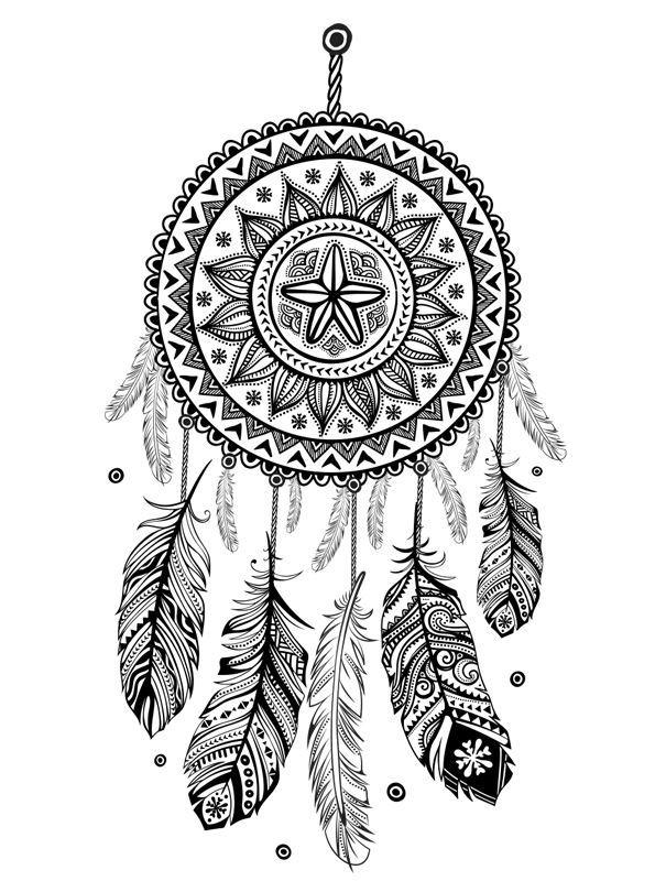 hippie dream catcher coloring pages fun for kids