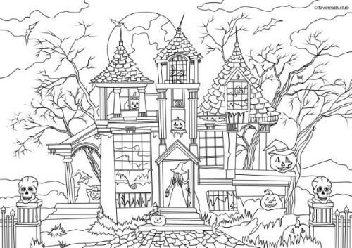 horror scenes haunted house house colouring pages