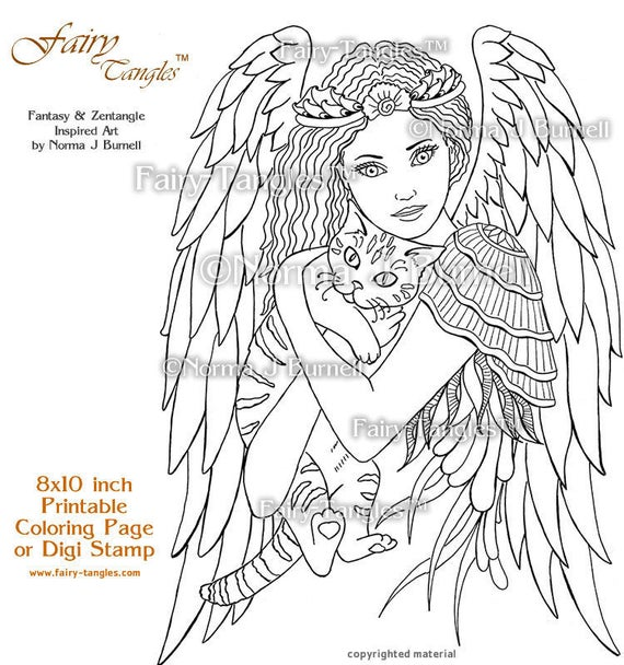 ill keep you safe fairy tangles printable coloring pages norma j burnell digital coloring book sheets fairy cat to color adult coloring
