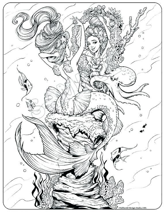 intricate mermaid coloring pages at getdrawings free