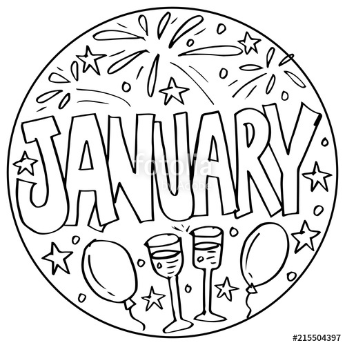 january coloring pages for kids stock photo and royalty