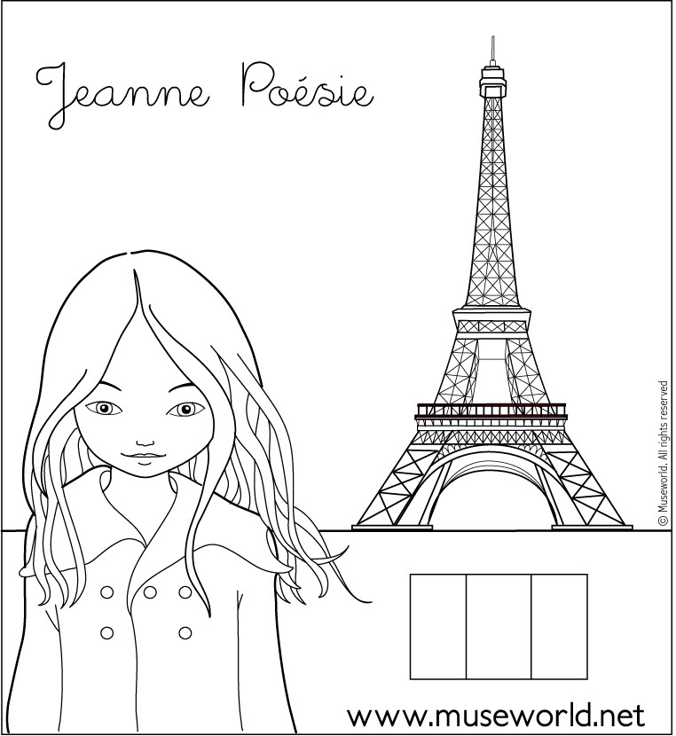 jeanne from paris coloring pages hellokids