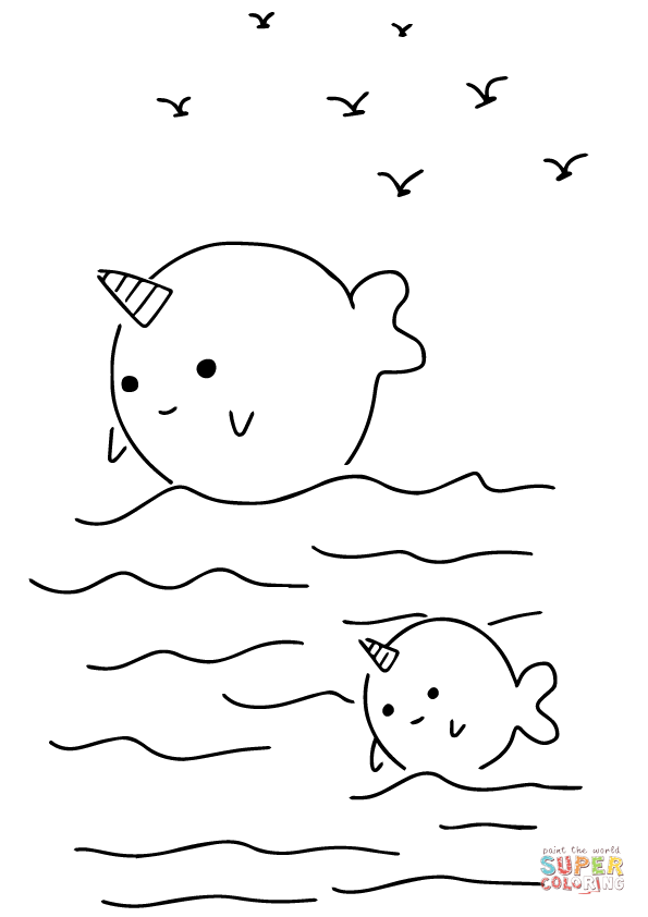 kawaii narwhals coloring page free printable coloring