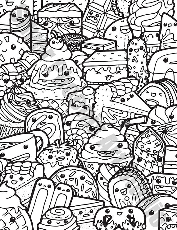 kawaii sweets doodle adult coloring page printable digital
