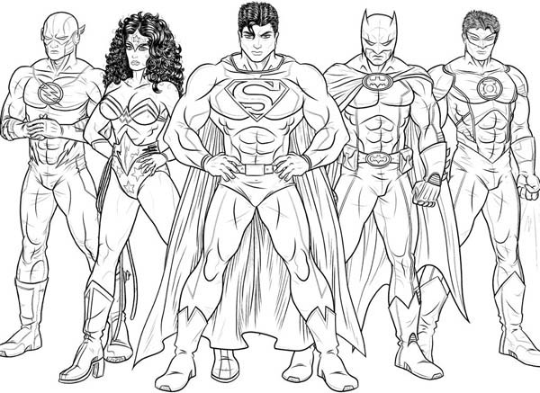 kids drawing of justice league coloring page netart