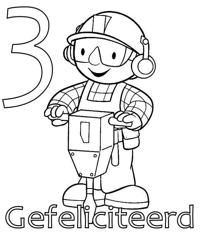kids n fun coloring page bob the builder birthday bob