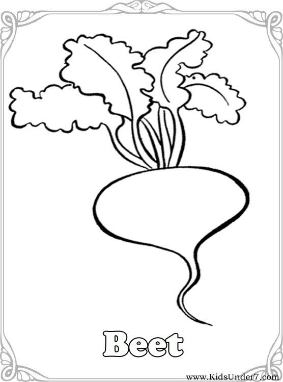 kids under 7 vegetables coloring pages